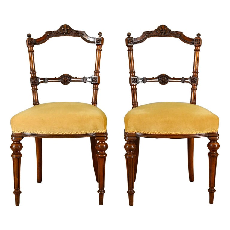 Pair of Antique Chairs, English, Walnut, Aesthetic Period, circa 1880 - English Prayer Chair Of Carved Walnut For Sale At 1stdibs