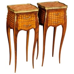 Pair of French Bedside Tables in Inlaid Wood with Marble Top in Louis XV Style
