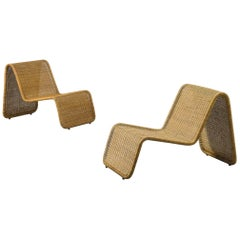 Pair of P3 Wicker Lounge Chairs by Tito Agnoli