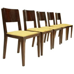 Set of Five Italian Wooden Art Deco Dining Chairs, 1940s