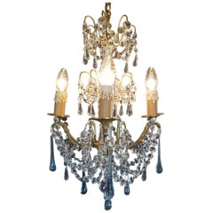 Antique French Chandelier with Blue Drops, 19th Century