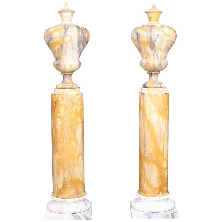 Neoclassical Style Vintage Grand Pair of Marble Urns on Column Plinths For Sale