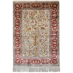 Pure Silk Rugs, Pictorial Turkish Rugs, Hereke Carpet with Signature