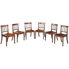 Set of Six Sheraton Period Mahogany Framed Chairs