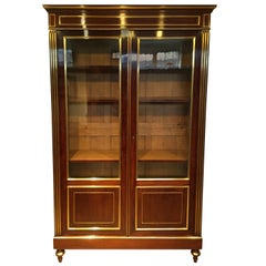 Bookcase, Two Doors Mahogany and Brass Inlaid