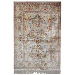 Magnificent Silk Rugs, Turkish Hereke Oriental Rug of Small Rugs, UK