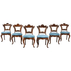 Set of Six Victorian Mahogany Framed Chairs of Elaborate Form