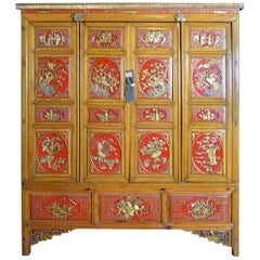 Qing Dynasty 19th Century Chinese Wooden Armoire with Hand-Carved Gilt Panels