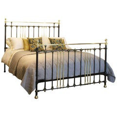Wide Brass and Iron Bed in Black with Gold Lining, MSK47