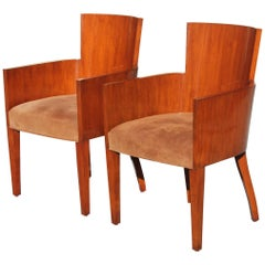Pair of Solid Mahogany Ralph Lauren Modern Hollywood Armchairs