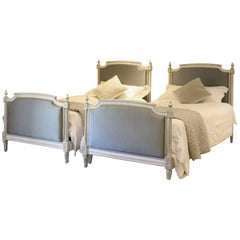 Matching Pair of Twin Upholstered Beds, WP14