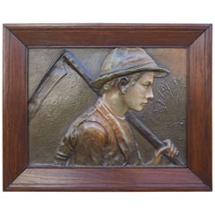 Rare Jugendstil Boy & Scythe Communist Propaganda Style Wall Plaque in Oak Frame