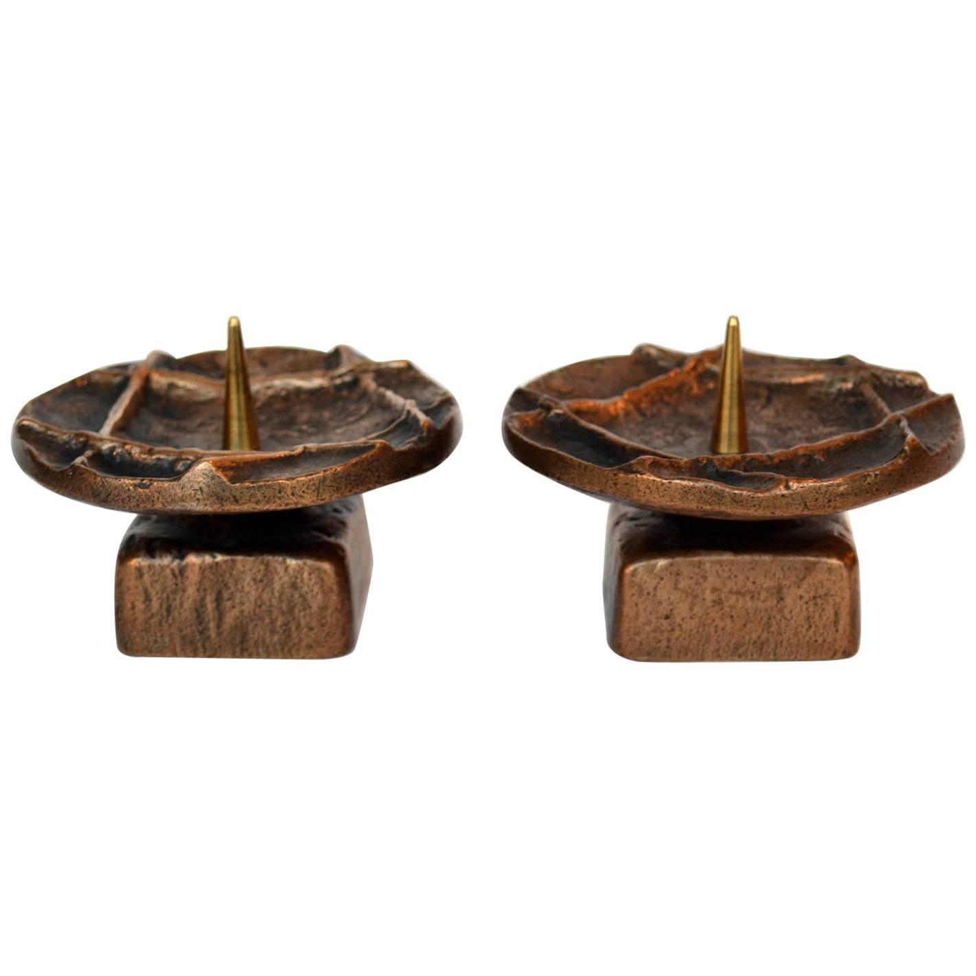 Pair of 1970s Brutalist Bronze Candle Holders