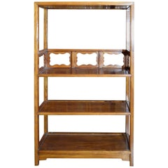 Vintage 1960s Lacquered Yumu Wood Chinese Bookcase with Hand-Carved Medallions