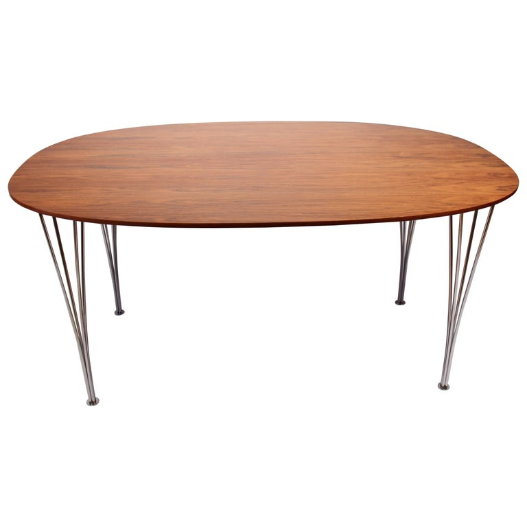 Super Ellipse Table in Rosewood by Piet Hein, Arne Jacobsen and Bruno Mathsson