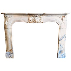 Elegant, Antique Louis XV Style Fireplace in Rococo Manner