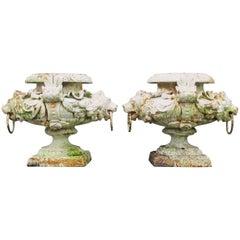 Pair of Victorian Cast Iron Urns