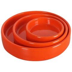 Set of Three Orange Glazed Ceramic Bowls by Pino Spagnolo for Sicart, Italy