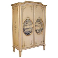 Italian Wardrobe in Lacquered, Painted, Giltwood Louis XVI Style, 20th Century