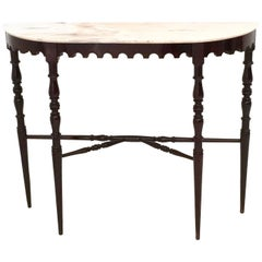 Demilune Ebonized Beech Console Table with a Portuguese Pink Marble Top, 1950s