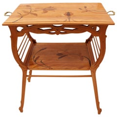 Art Nouveau Cherry Walnut Side Table