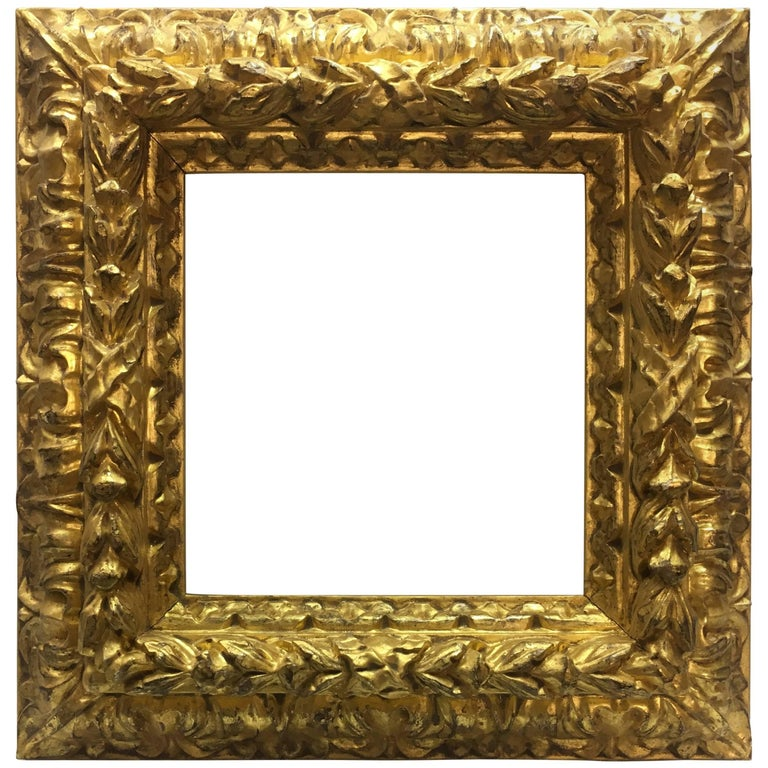 Italian Contemporary Hand-Carved Wood Frame with Gold Leaf Cover