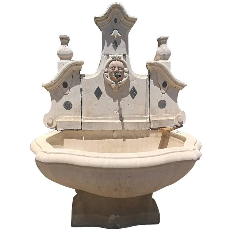 18th Century Stone and Marble Italian Wall Fountain For Sale