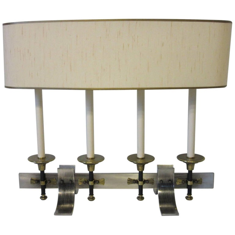 Brushed Metal and Brass Table Lamp in the Manner of Stiffel and Tommy Parzinger