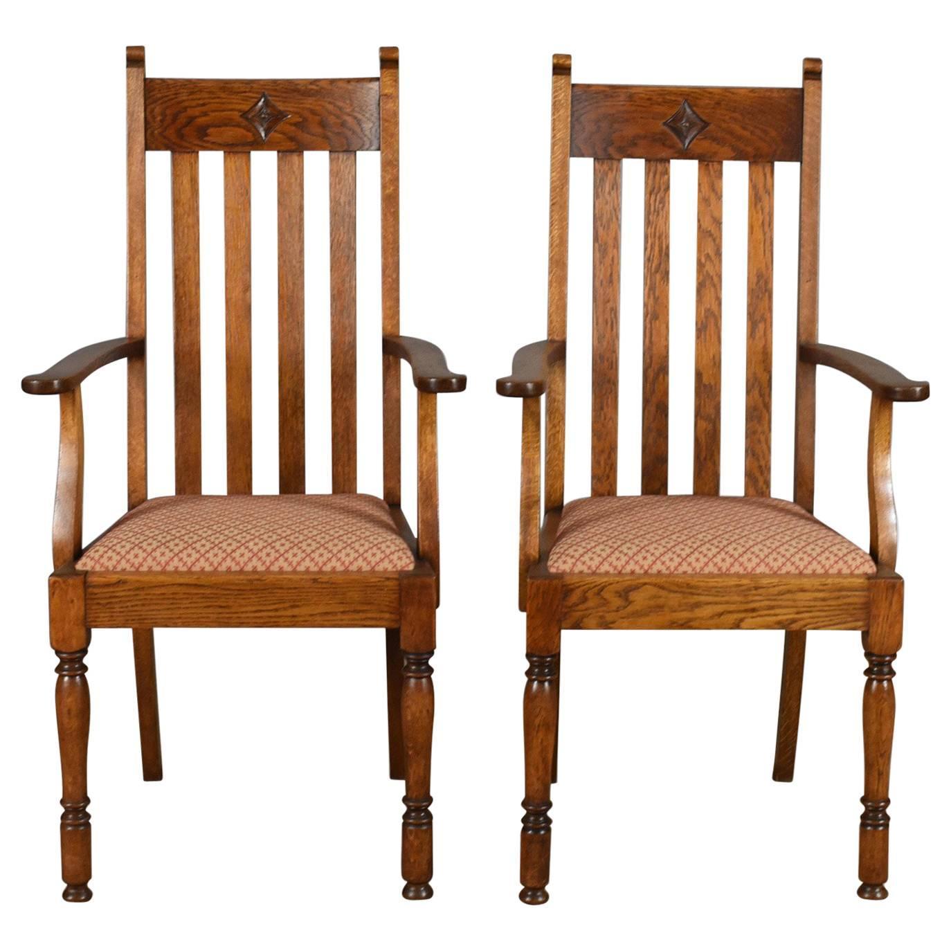 Great Pair Of Antique Armchairs, Arts U0026 Crafts, Liberty Esque, Oak, Carver