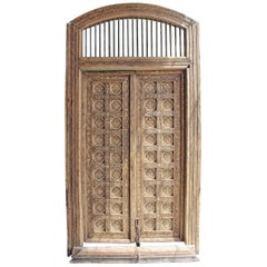 19th Century Bone Inlayed Wooden Double Front Door