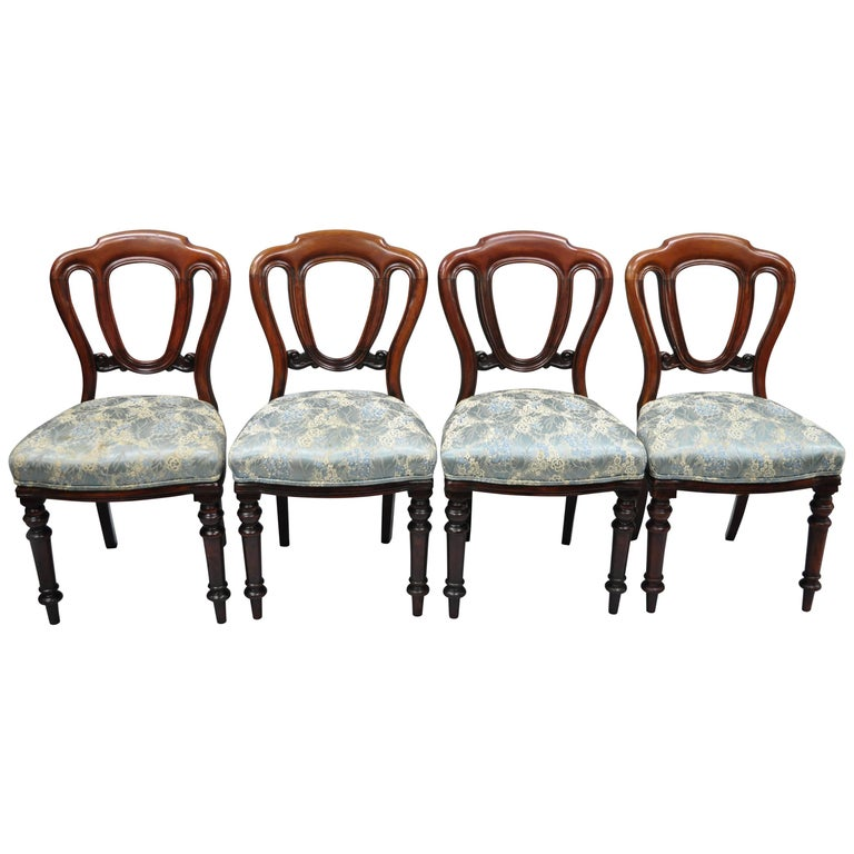 English Victorian Mahogany Balloon Back Dining/Library Side Chairs Set of Four For Sale