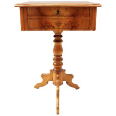 Late Biedermeier Sewing Table Made of Ash Wood