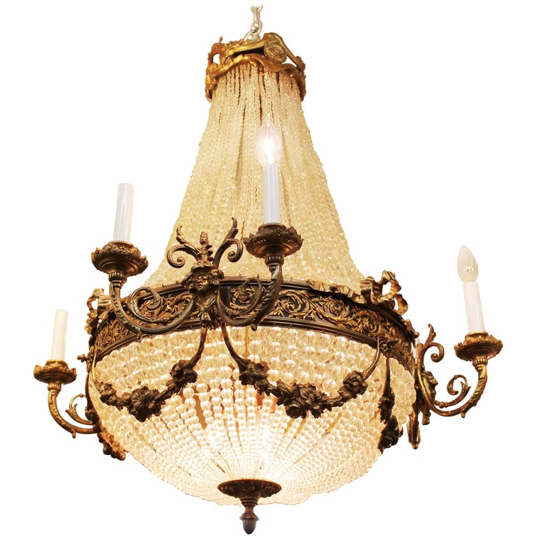 Neoclassical Style Monumental French Bronze and Crystal Chandelier