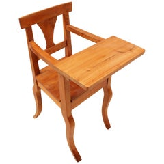 Rare 19th Century Biedermeier Solid Cherry Child Chair