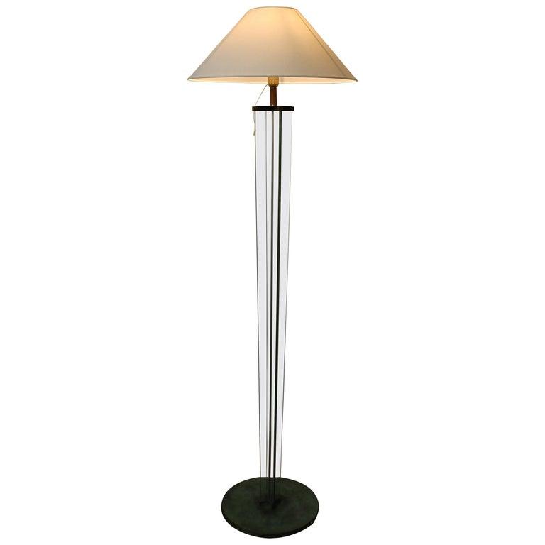 Glass Floor Lamp by Jacques Adnet, Art Déco, 1930s, France