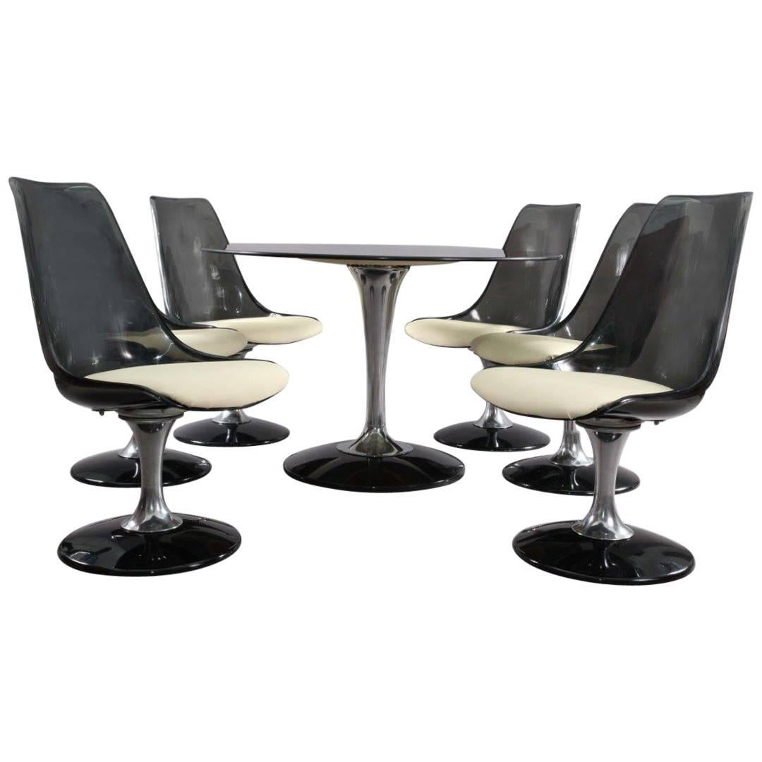 Chromcraft Smoke Lucite Dining Set: Six Swiveling Tulip Chairs And Oval  Table