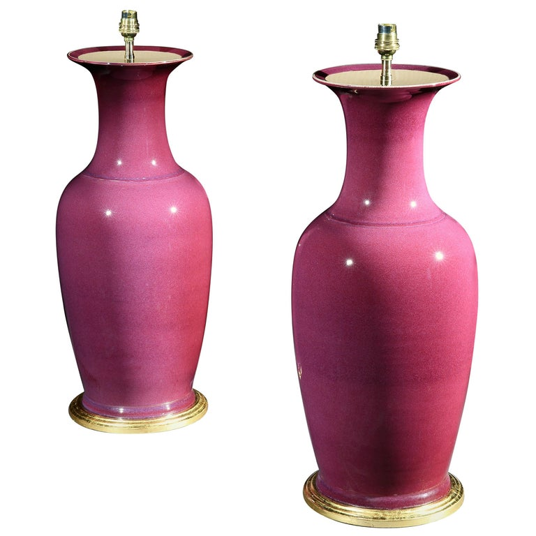 Pair of Large Chinese Plum Coloured Vases Now Mounted as Lamps