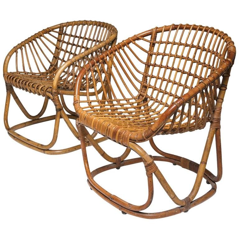 Pair of Wicker Chairs by Tito Agnoli for Bonacina