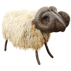 Midcentury Wood and Metal Sheep in the Manner of Lalanne
