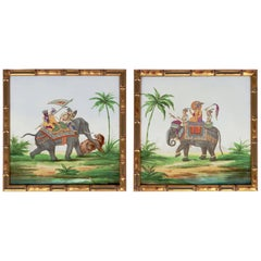 Pair of Oriental Scenes with Faience Bamboo Style Giltwood Frame, circa 1880