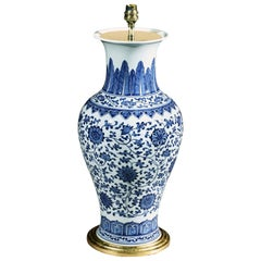 Blue and White Chinese Floral Vase Now Mounted as a Lamp