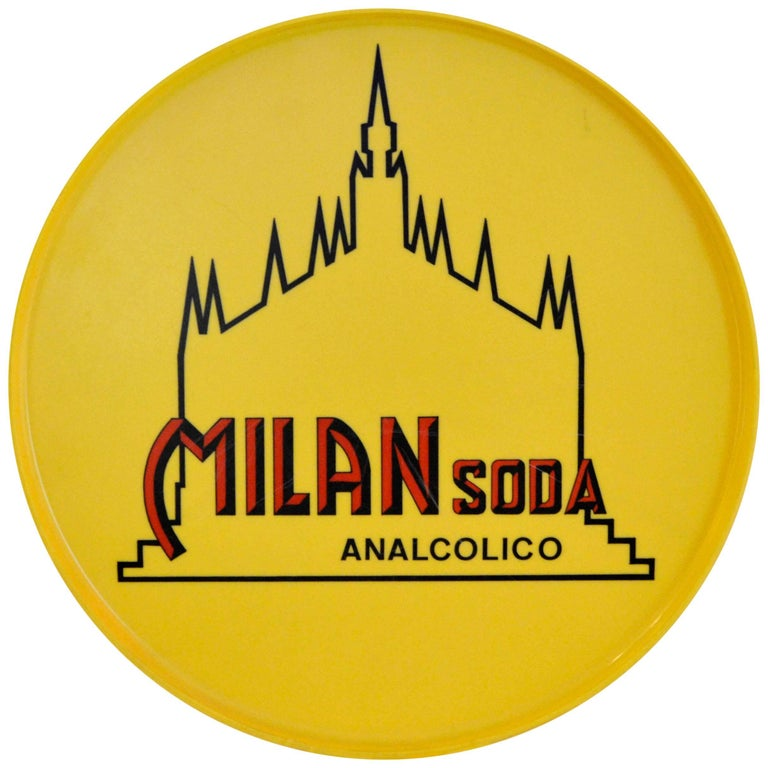 1960s Yellow Round Plastic Tray Milan Soda Analcolico Made in Italy