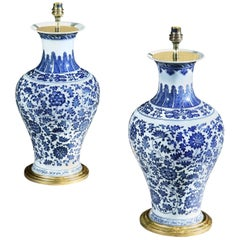 Pair of Blue and White Chinese Floral Vases Now Mounted as Lamps