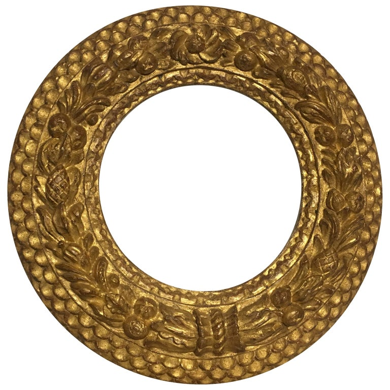 Italian Contemporary Hand-Carved Wood Frame with Gold Leaf Cover, Custom Sizes
