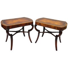 Pair of Flame Mahogany Leather Top English Regency Style Saber Leg End Tables