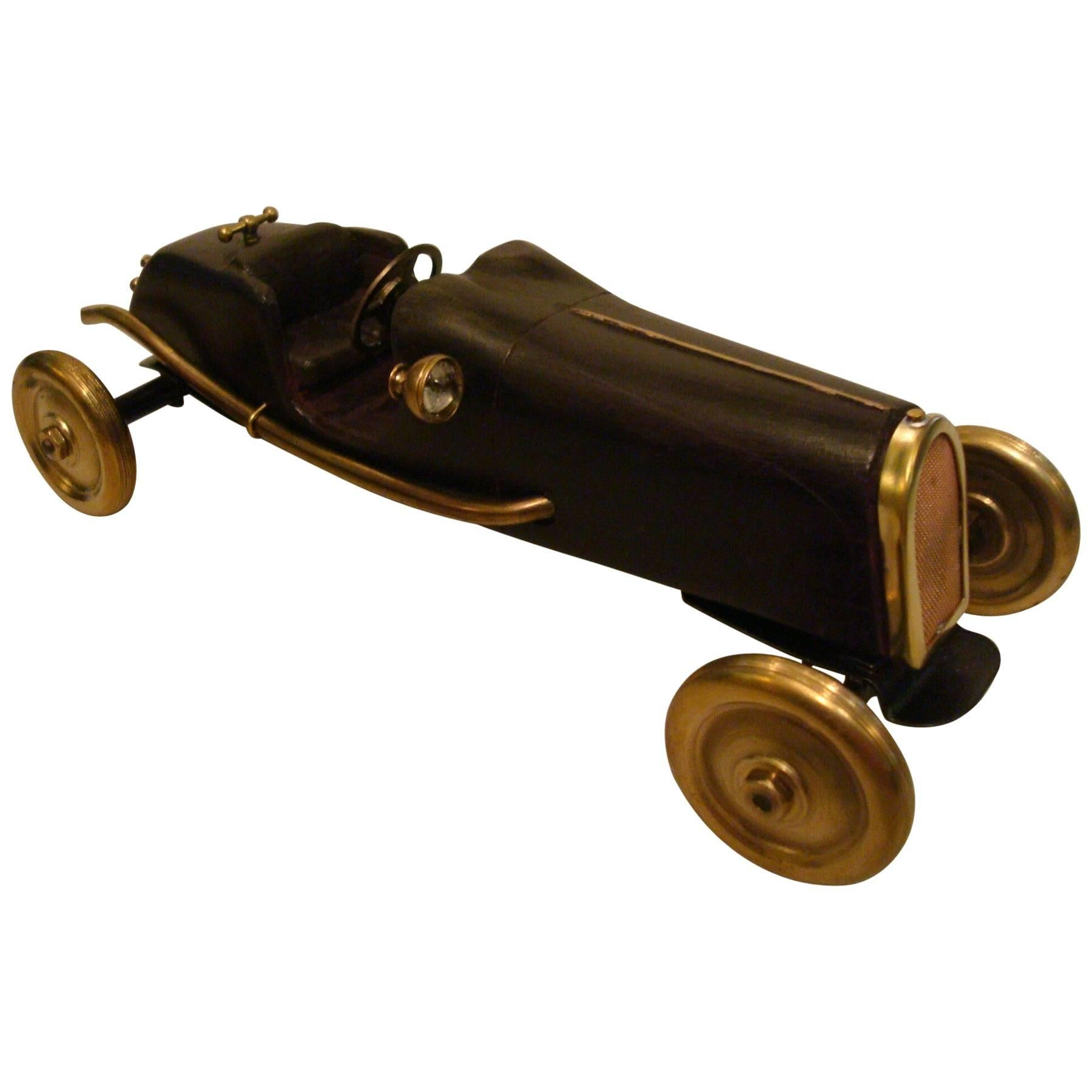 Early Racing Car Model, Indianapolis Type, Brass and Wood, Automobilia