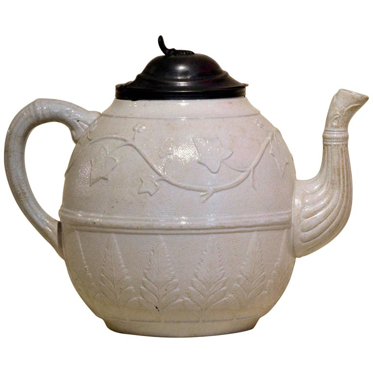 1860s Very Large Victorian Salt Glazed White Ironstone Teapot with Ivy Relief