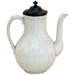 1870s Victorian Salt Glazed White Ironstone Coffee Pot with Pewter Lid