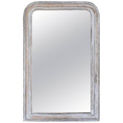 Antique French Louis Philippe Mirror in Distressed Grey