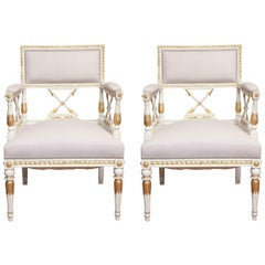 Pair of Late 19th Century Swedish, Gustavian, Painted and Parcel-Gilt Armchairs